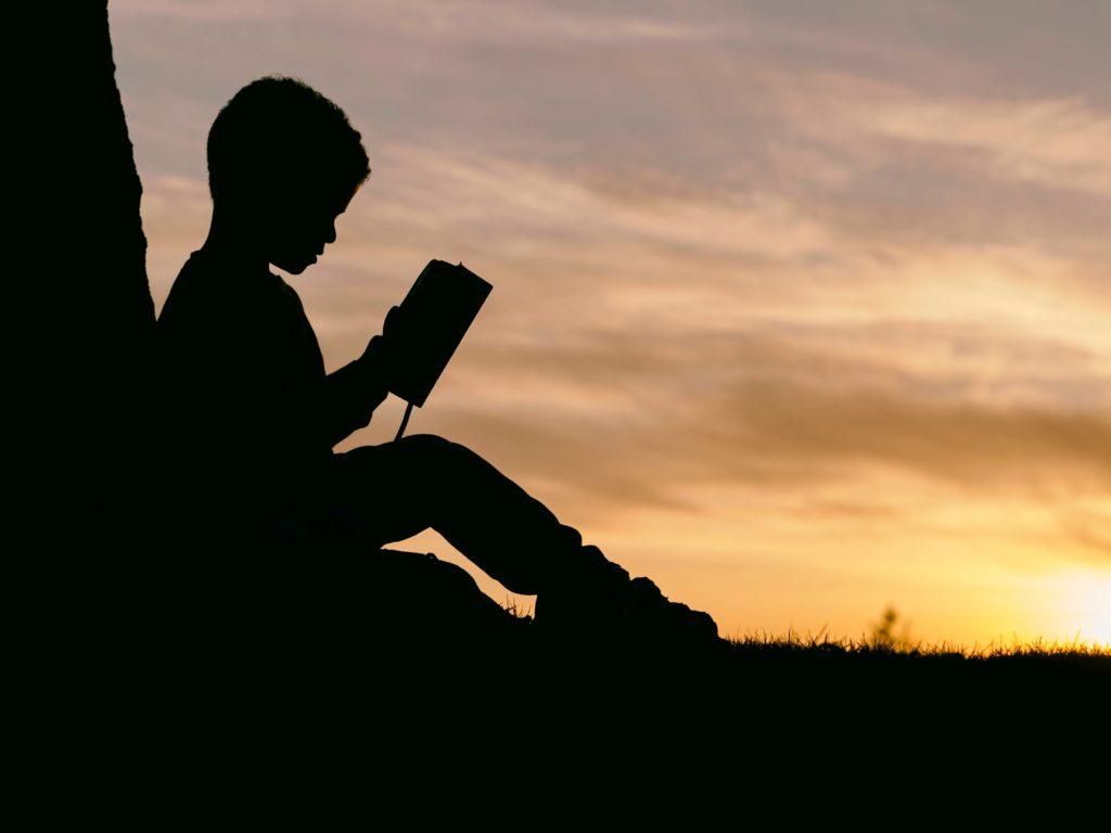 草原で本を読んでる少年