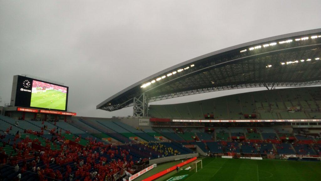 試合後は大雨だった